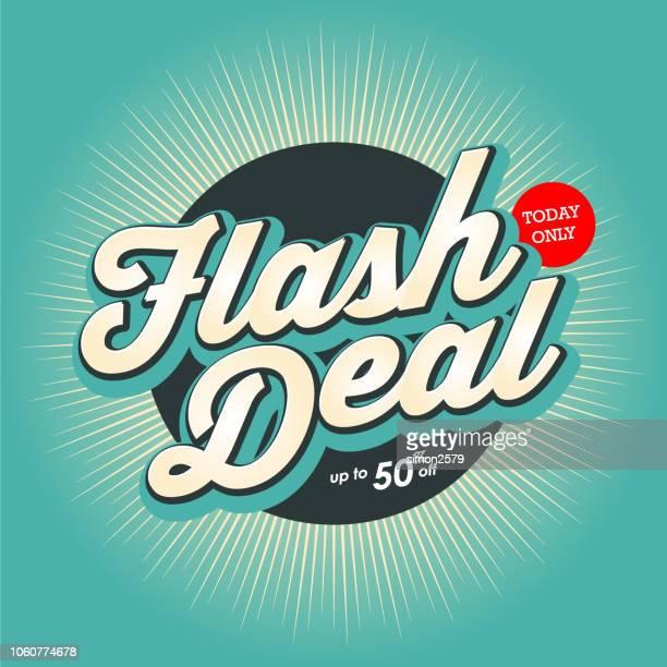 flash deal banner design with color starburst background. - flash stock illustrations
