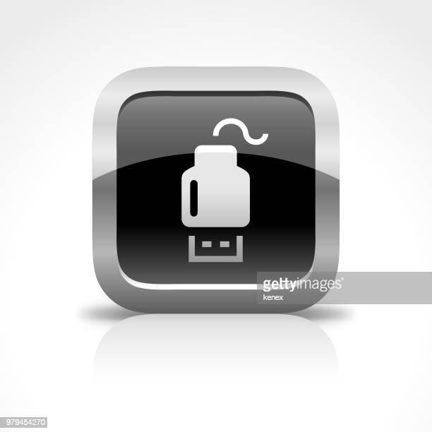 ilustrações, clipart, desenhos animados e ícones de ícone de botão brilhante usb flash drive e cabo - usb cable
