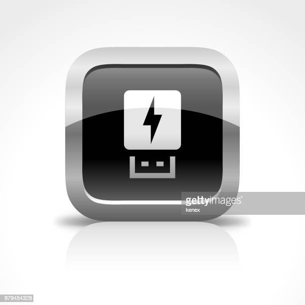 usb flash drive and charging glossy button icon - usb stick stock illustrations, clip art, cartoons, & icons