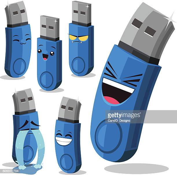 usb flash drive cartoon set b - usb stick stock illustrations, clip art, cartoons, & icons