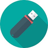 USB flash drive circle icon with long shadow. Flat design style.