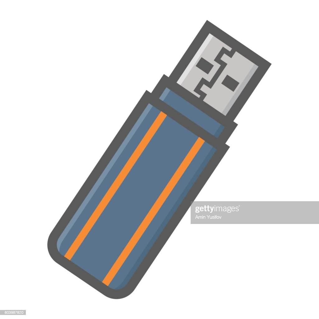 USB flash drive colorful line icon, device and hardware, vector graphics, a filled pattern on a white background, eps 10.