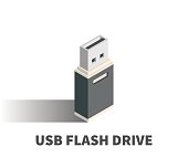 USB Flash Drive icon, vector symbol in isometric 3D style isolated on white background.
