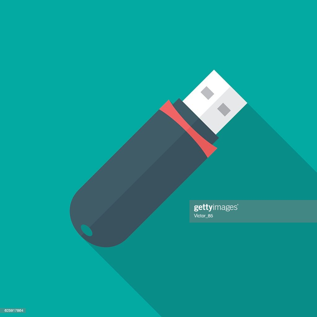 USB flash drive icon with long shadow.