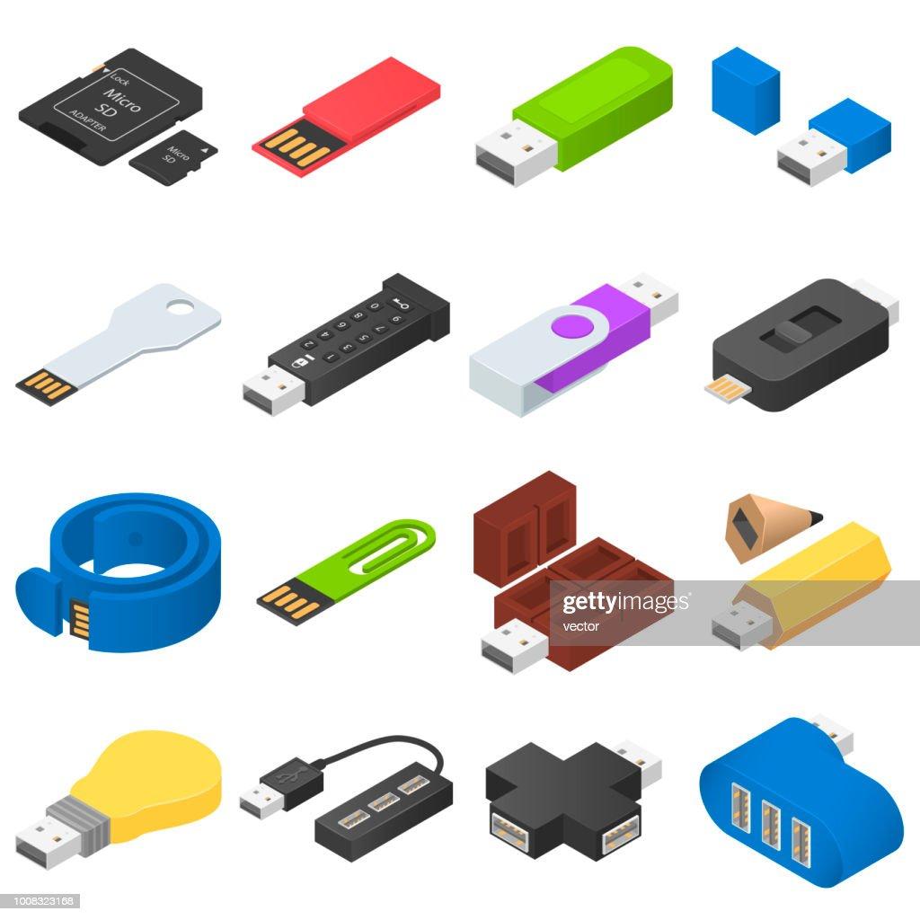 USB flash drive icons set, isometric style