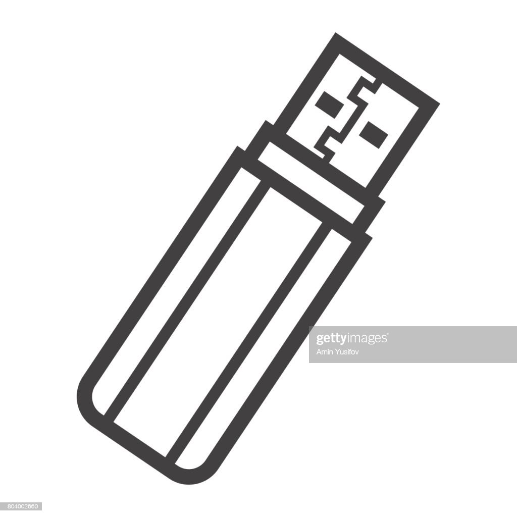 USB flash drive line icon, device and hardware, vector graphics, a linear pattern on a white background, eps 10.