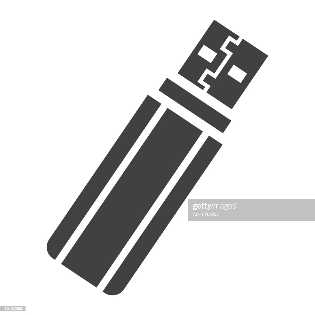 USB flash drive solid icon, device and hardware, vector graphics, a glyph pattern on a white background, eps 10.