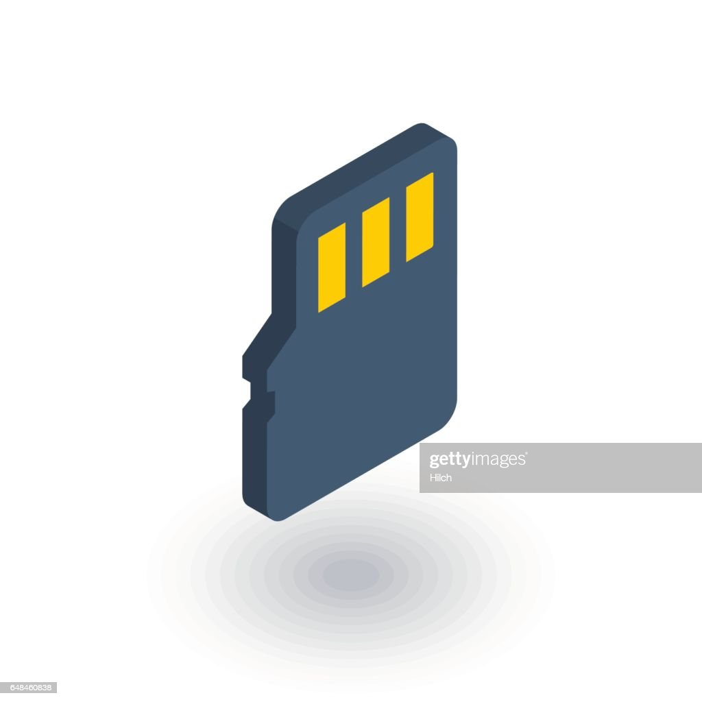 Flash memory SD card isometric flat icon. 3d vector