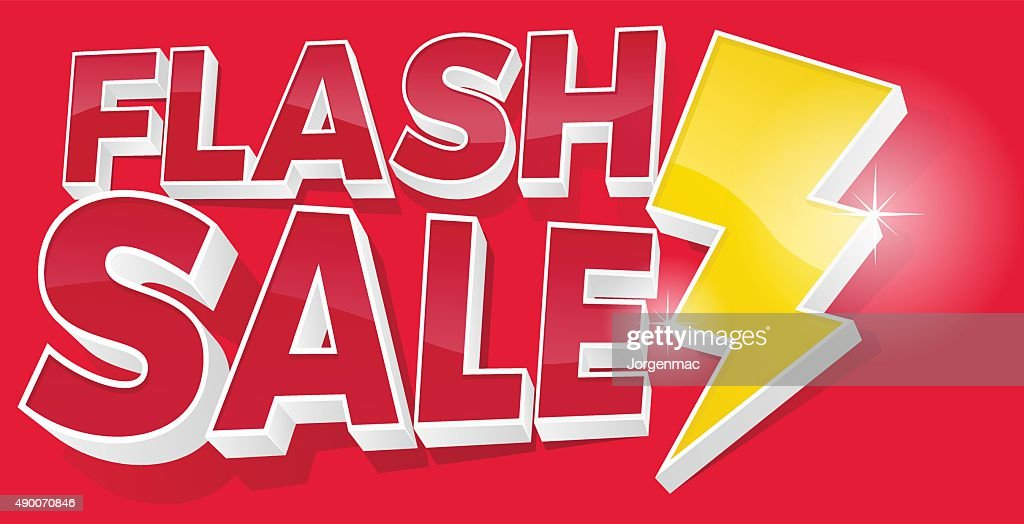 3D Flash Sale and Lightening Bolt Promotional Sign