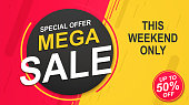 Flash sale banner template, special offer for big sales.