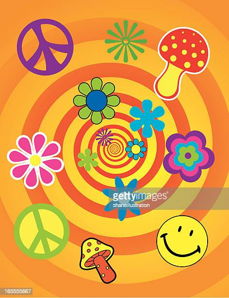 flashback - symbols of peace stock illustrations