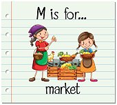 Flashcard alphabet M is for market