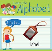 Flashcard letter L is for label