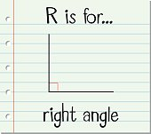 Flashcard letter R is for right angle