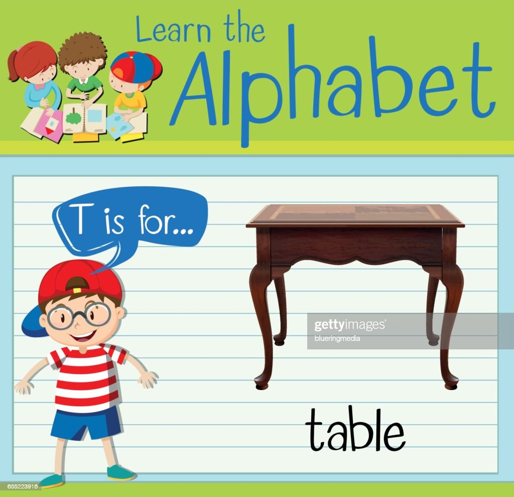 Flashcard letter T is for table