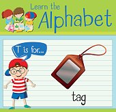 Flashcard letter T is for tag