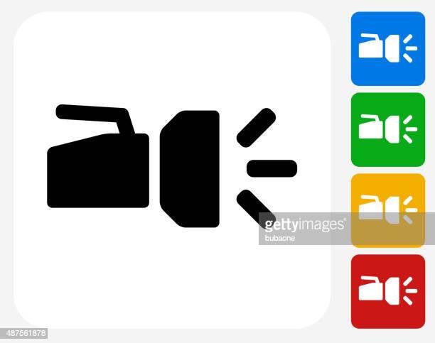 flashlight icon flat graphic design - flashlight beam stock illustrations, clip art, cartoons, & icons