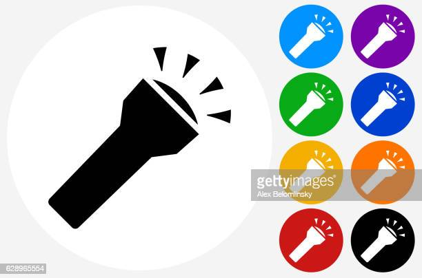 flashlight icon on flat color circle buttons - flashlight stock illustrations, clip art, cartoons, & icons