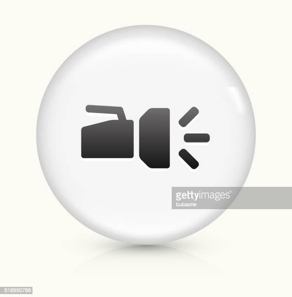 flashlight icon on white round vector button - flashlight beam stock illustrations, clip art, cartoons, & icons
