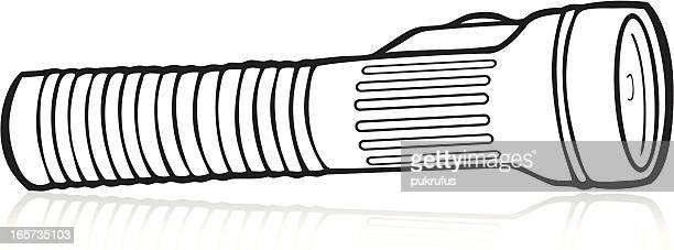 flashlight in black - flashlight stock illustrations, clip art, cartoons, & icons