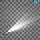 flashlight on a transparent background. Vector illustration