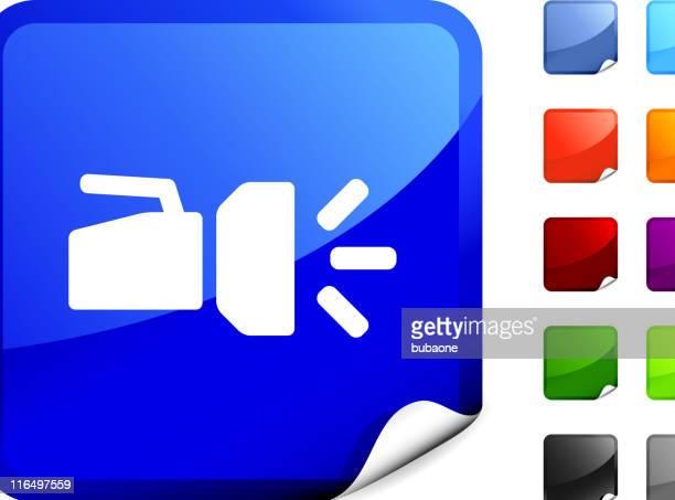 flashlight royalty free vector art on blue sticker - flashlight beam stock illustrations, clip art, cartoons, & icons