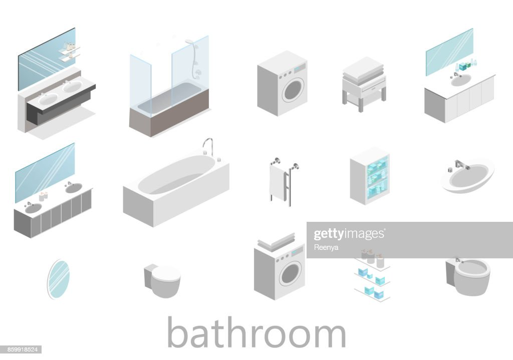 flat 3D isolated Isometric interior of bathroom
