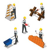 Flat 3d isometric builder construction worker icon set concept web infographics vector illustration. Carpenter mason driller electrician swamper. Creative people collection.