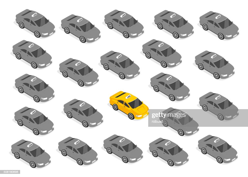 Flat 3d Isometric Car Taxi