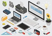 Flat 3d isometric computerized technology designer workspace infographic concept vector. Tablet, laptop, smart phone, camera, player, printer, desktop computer, printer, peripheral devices icon set.