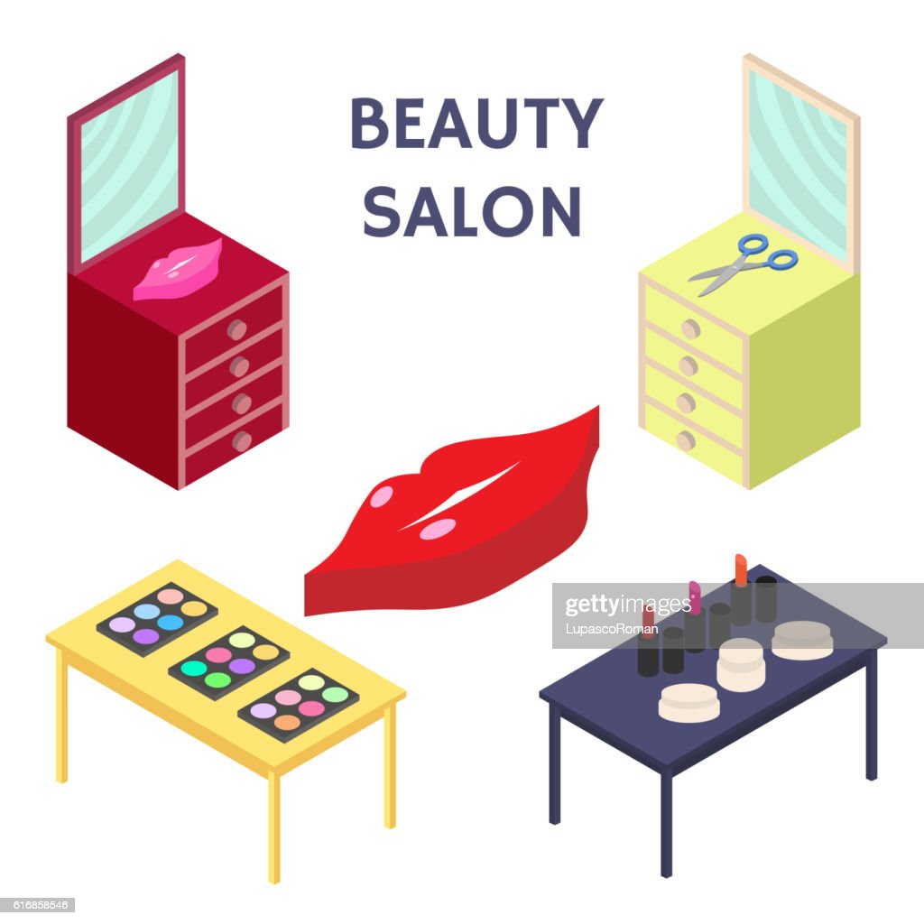 Flat 3d isometric creative Beauty salon. New business. Vector illustration. : Vector Art