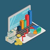 Flat 3d isometric finance business loan mortgage credit accounting bookkeeping reporting concept web infographics vector illustration. Laptop graphic money coin dollar banknote.