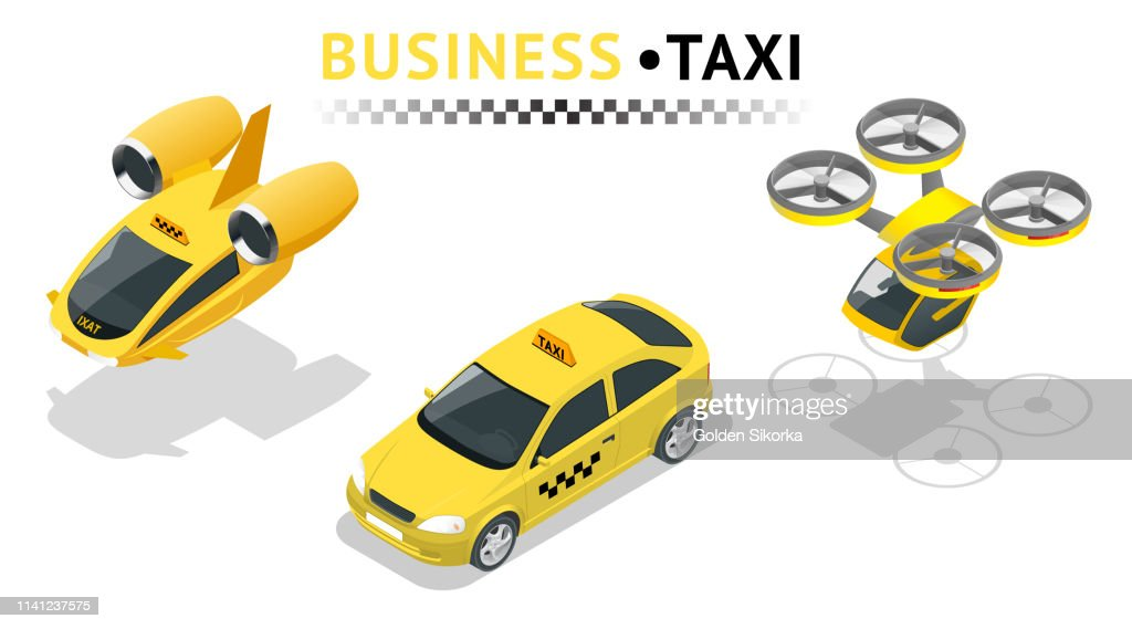 Flat 3d isometric high quality city service transport icon set. Car taxi. Build your own world web infographic collection. Set of the isometric taxi cab with front and rear views