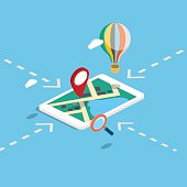 Flat 3d isometric mobile navigation maps infographic.