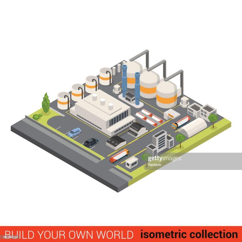 Platte 3d Isometrische Olie Raffinaderij Bouwsteen