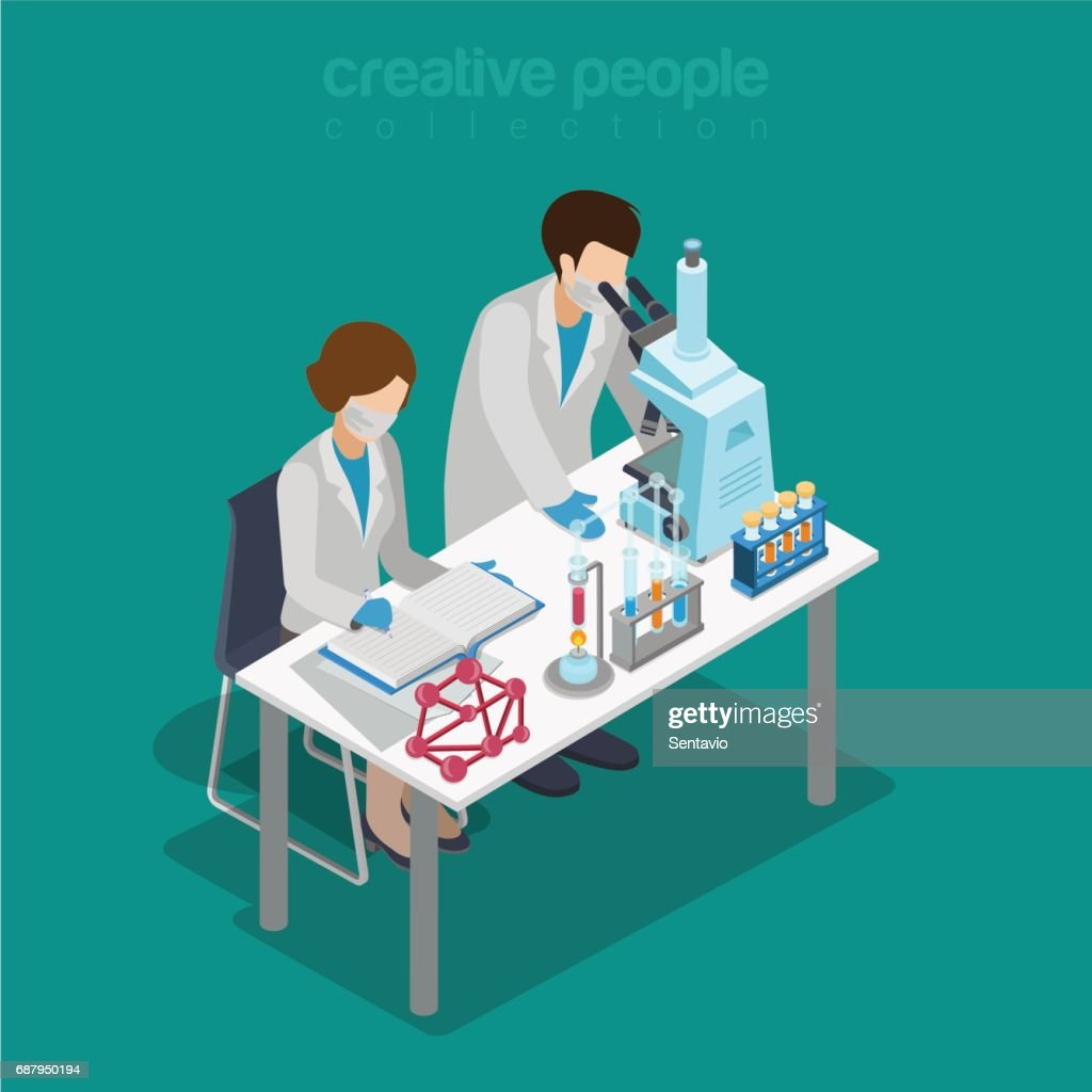 Flat 3d isometric science lab experiment research pharmaceutics chemical concept web infographics vector illustration. Couple scientist assistant microscope flask test tube. Creative people collection.