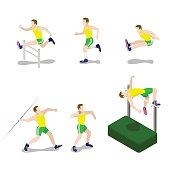 Flat 3d isometric style sportsman male sport concept web infographics vector illustration icon set. Exercise male athlete abstract outdoor all-around rounder. Creative people collection.