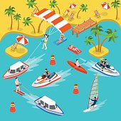 Flat 3d isometric travel tourism tropical beach resort holiday vacation icon set concept web infographics. Sea shore air mattress yacht boat kayak parasailing jetski surf. Creative people collection.