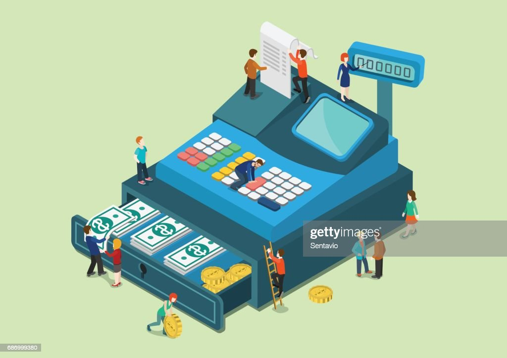 Flat 3d web isometric little people on big oversize cash register machine infographic concept vector. Fabulous mini human characters finance retail sale monetary concept. Creative people collection.