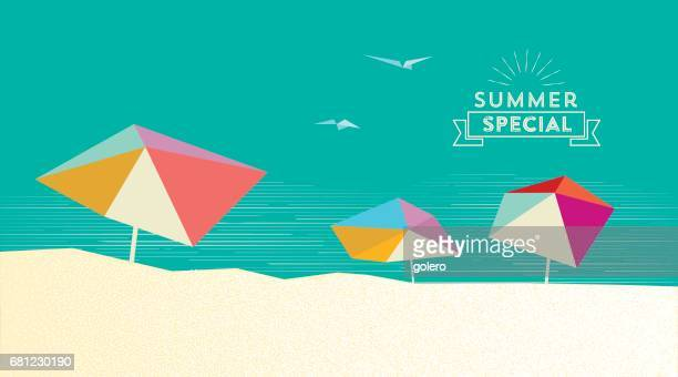 flat abstract summer beach illustration with parasols and vintage sign