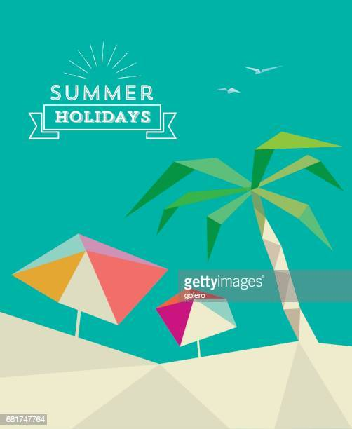 flat abstract summer beach poster with parasols and palm tree