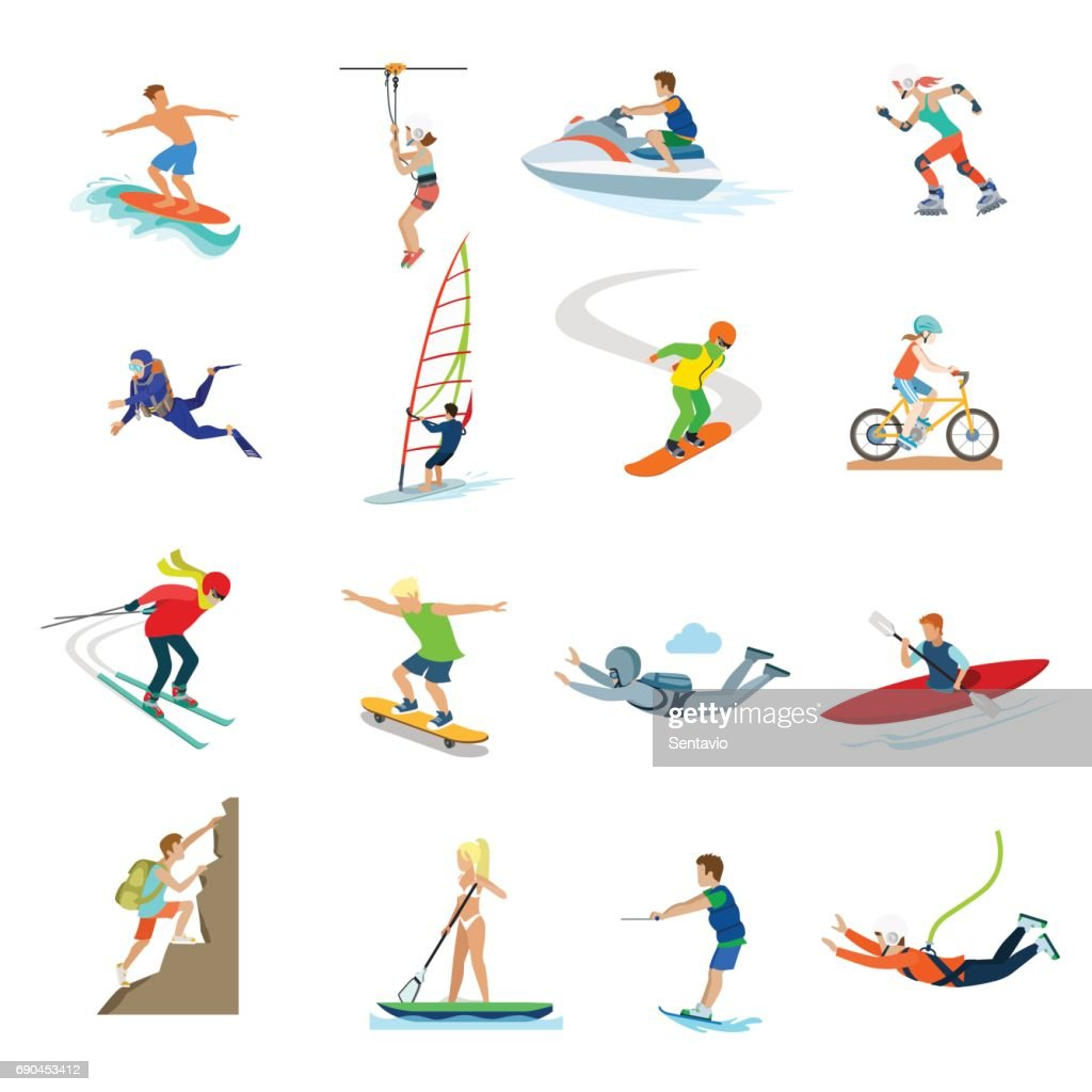 Flat active young people sailing, swimming, diving, riding bike, roller-skates, climbing rock, jumping with parachute vector illustration set. Extreme sports and activity concept.