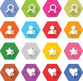 Flat addition icon hexagon web button