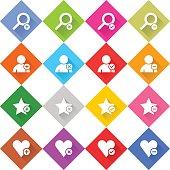 Flat addition icon rhombus web button