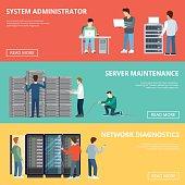 Flat Adjustable computer server racks service infographics template vector illustration. Database concept. Server maintenance, Network diagnostic, System administrator, technical staff characters.