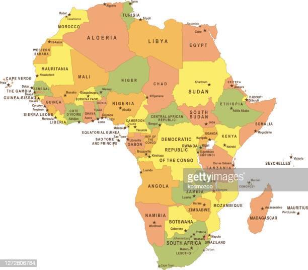 stockillustraties, clipart, cartoons en iconen met platte afrika kaart - hoofdstad