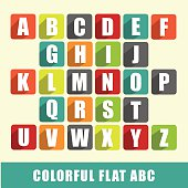 Flat alphabet - ABC blocks with colorful flat design