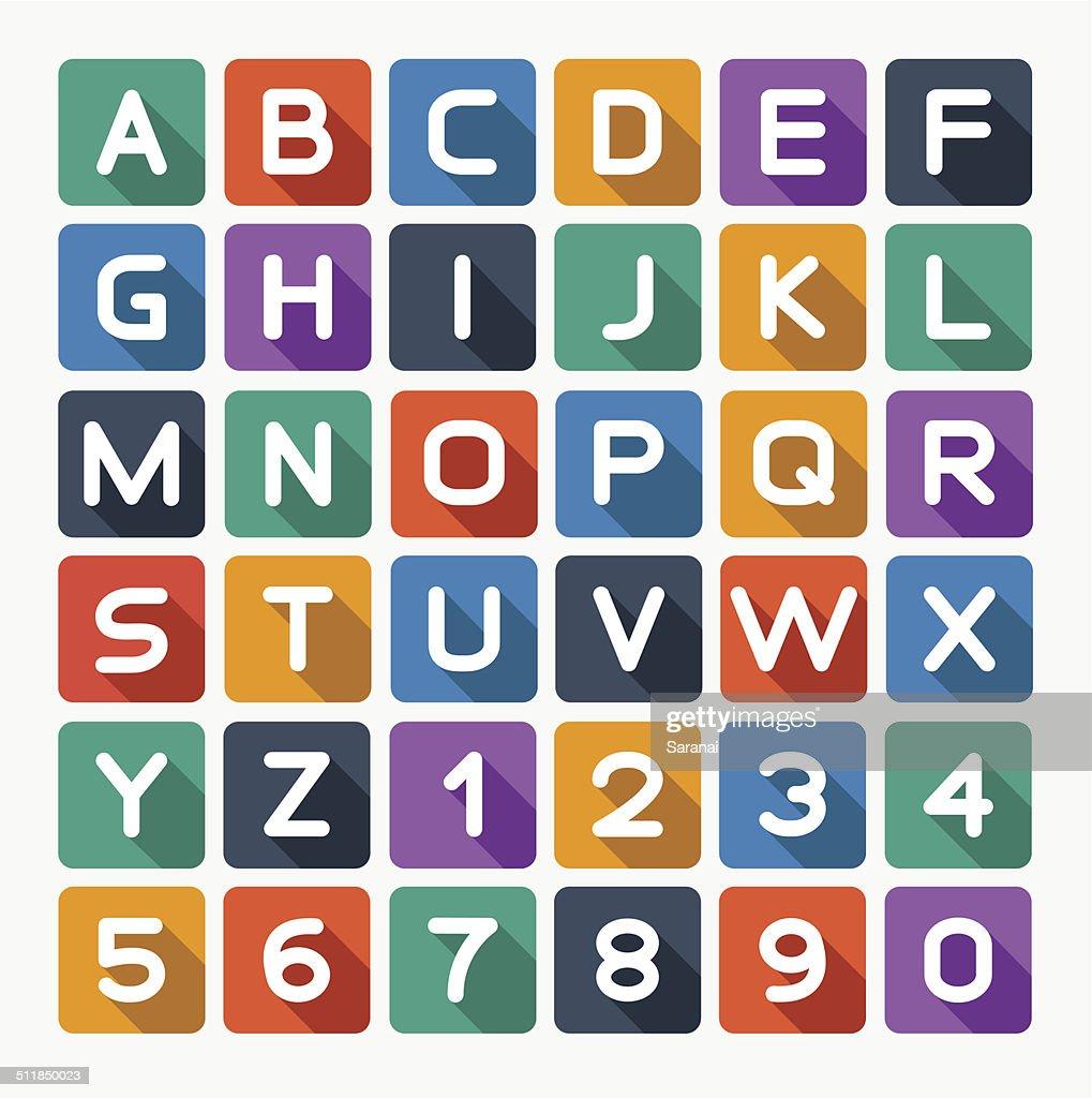 Flat alphabet rounded. Isolated on white