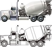 Flat and 3D illustrations of a concrete mixer truck