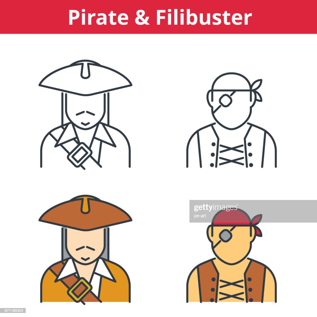 Flat and linear vector avatar set: pirat, capitain, filibuster.